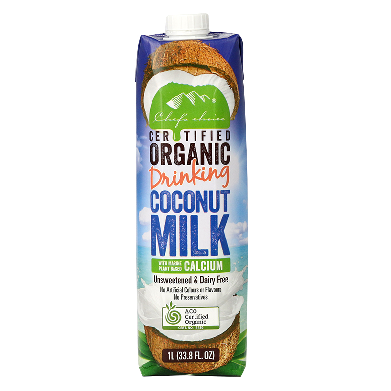 Chef's Choice Certified Organic Drinking Coconut Milk with Marine Plant Based Calcium 1L