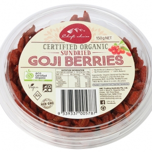 Chef's Choice Certified Organic Sundried Goji Berries 150g