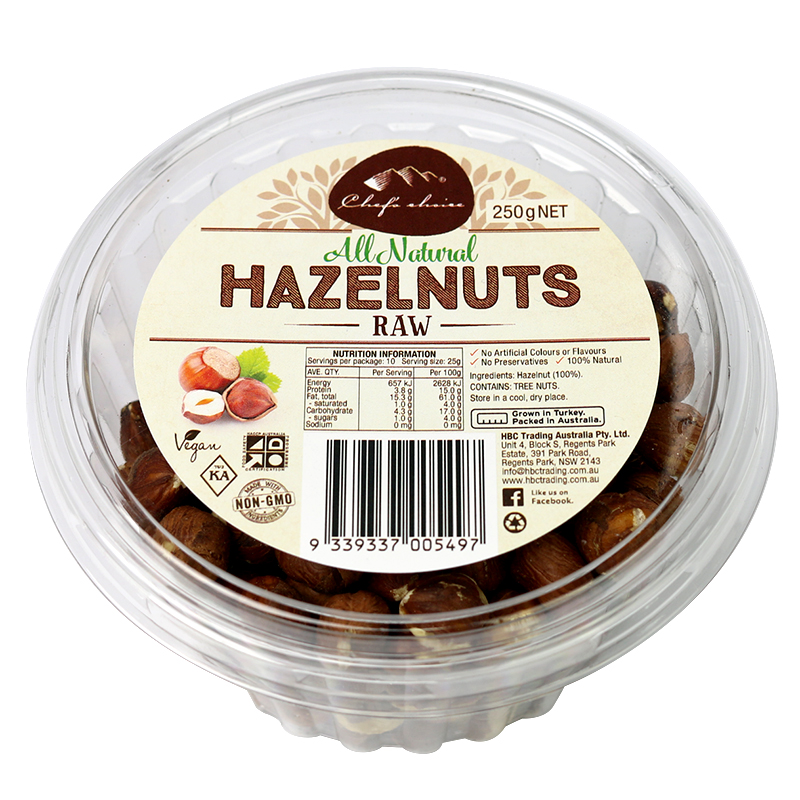 Chef's Choice All Natural Raw Hazelnuts 250g