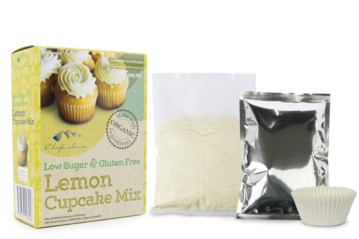Chef's Choice Low Sugar & Gluten Free Lemon Cupcake Mix 300g NET
