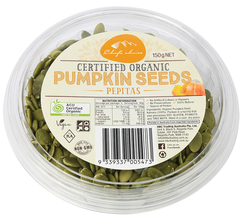 Chef's Choice Certified Organic Pumpkin Seeds Pepitas 150g
