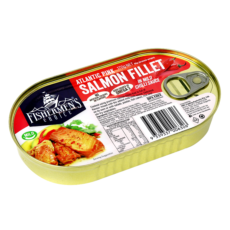Fishermen's Choice Atlantic Pink Salmon Fillets in Mild Chilli Sauce 170g