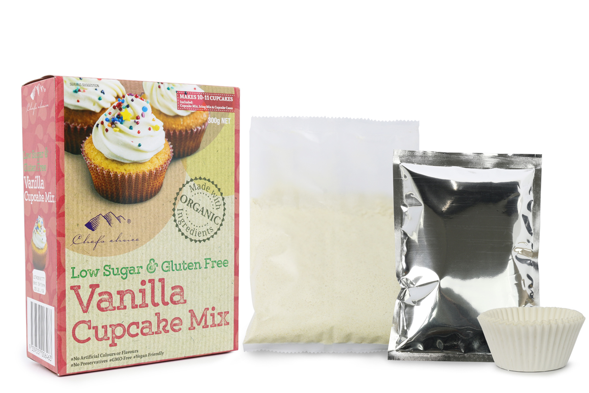 Chef's Choice Low Sugar & Gluten Free Vanilla Cupcake Mix 300g NET