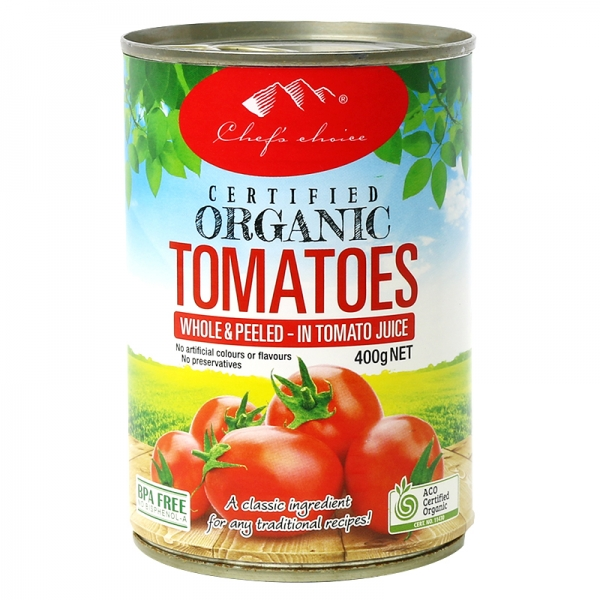 Chef's Choice Certified Organic Whole Peeled Tomatoes 400g